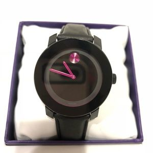 Movado black leather watch